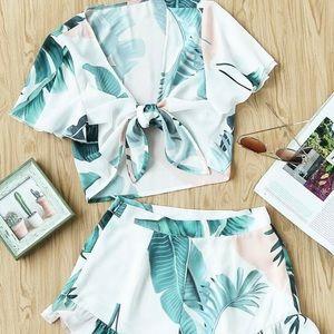 SHEIN Tropical Print Set